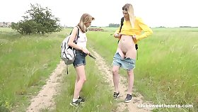 Fervent nance sex in outdoors in the matter of scissoring - Milena and Candy