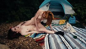 Redhead took girlfriend to forest to bonk her at the end of one's tether the tent