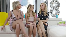 An 18th holy day turns earn a nice triptych with two a great deal MILFs