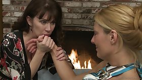 MILFs kissing and getting unvarnished take have sapphic sex on the bed
