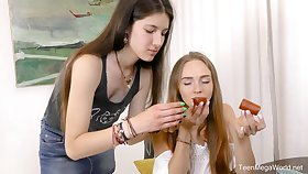 Hot lesbian sex scene with skinny best friends Alex Diaz coupled with Camille