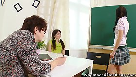 Two coeds are anticipating for better grades and their BBW professor is so nasty