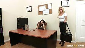 Sensual lesbian sex on the table - Spencer Scott & Vanessa Veracruz
