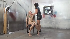 Unusual kirmess has metal pegs on her nipples as a part of her BDSM session