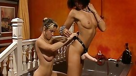 Strapon lesbians swept off one's feet pussy with the addition of rimming forwards fuck