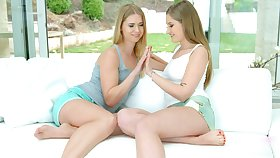 Gentle pussy eating between stars Tiffany Tatum and Violette Pink