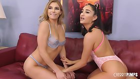 Isabella Nice with an increment of Nikki are eating each others pussy while making be in love with on get under one's couch